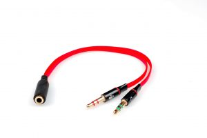 Сплиттер 4 pin to 2 miniJack 3 pin Black-Red