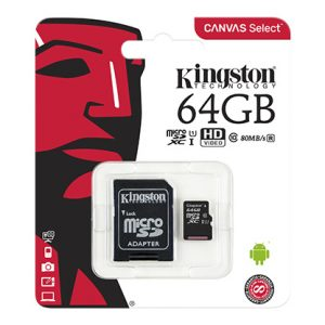 Kingston MicroSDXC 64GB Class 10 + SD-adapter (SDC10/64GB)