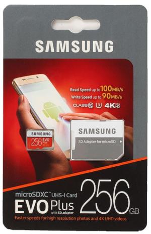 Samsung EVO Micro SD 256GB Class 10 + ad EVO PLUS (MB-MC256GA/RU)