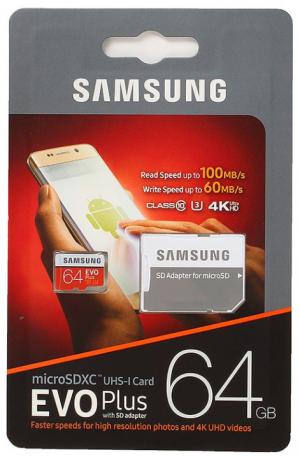 Samsung EVO Micro SD 64GB Class 10 + ad EVO PLUS (MB-MC64GA/RU)