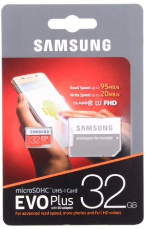 Samsung EVO Micro SD 32GB Class 10 + ad EVO PLUS (MB-MC32GA/RU)