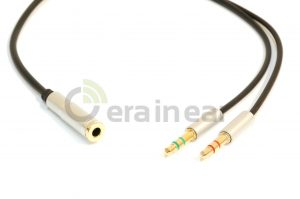 Кабель Pro Audio сплиттер 3,5 mm 1 female to 2 male 15 cm